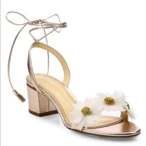 Tara flower sandals w/rose gold tone leather US7